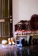 Moroccan tiles gleaming and OMG the sofa.