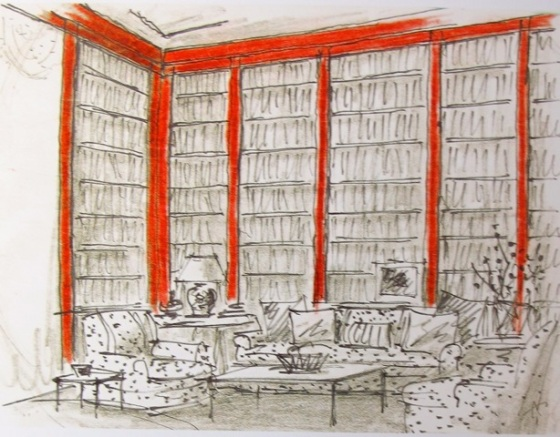 Hadely illustration of Brooke Astor library