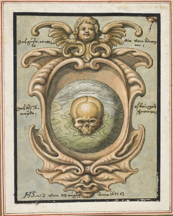 skull in a cartouche 1651 Friedrich Schorer