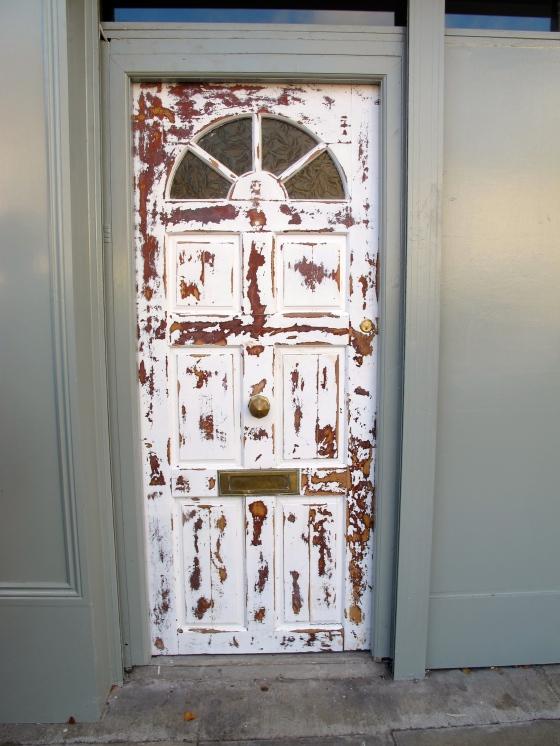 distressed paintwork door