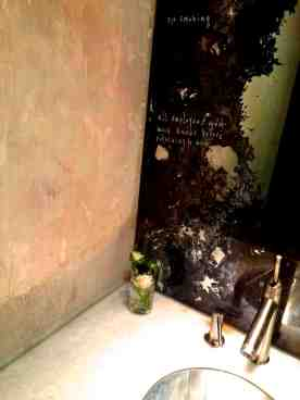 venetian plaster meets marble and THAT foxed mirror