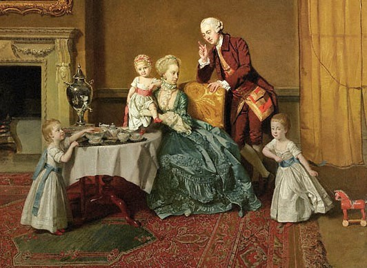 1 Johann Zoffany (German-born painter, 1733-1810) John, Lord Willoughby de Broke, and his Family.  C 1766.