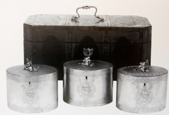 silver tea caddies in chest with lock
