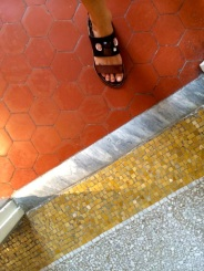 the flooring gracefully flowing through the building (plus the sandal shot)