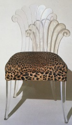lucite chair with leopard upholstery