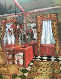 zig zag fur pelmet, checkerboard floor and mirrored walls.