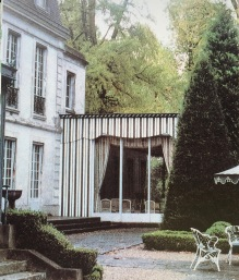 striped party pavilion at Trianon in Versailles