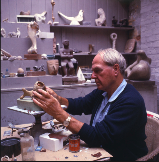 Henry Moore with his Collection